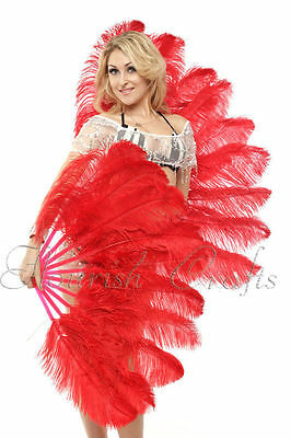 "A pair Red Single-layer Ostrich Feather fan 24""x41"" burlesque dancer"