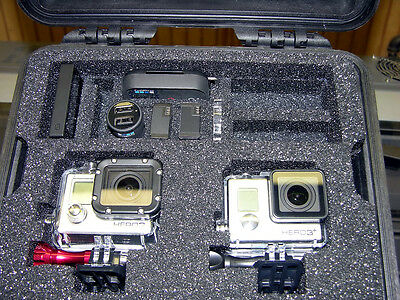 Black Pelican 1300 Case fits GoPro Hero3+ & 3  Black Edition Combination + Bonus