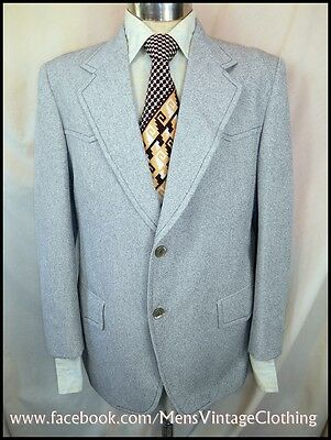 Vintage 70s Grey Polyester Sports Jacket 39-40 Western Style Anchorman Mad Men