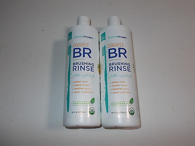 2 x 473ml ESSENTIAL OXYGEN Brushing Rinse ( Toothpaste + Mouthwash /Peppermint )