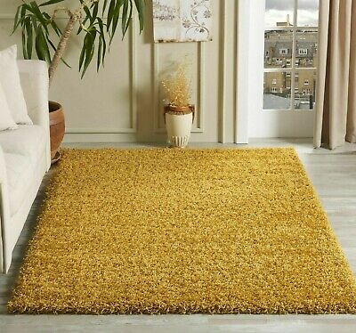 Modern Mustard Yellow Gold Ochre Small Large Living Room Area Plain Shaggy Rug