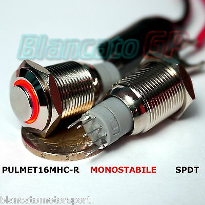 PULSANTE SPDT MONOSTABILE LED ROSSO 12V IP67 waterproof auto moto round switch