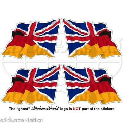 GERMANY-UK Flying Flag German-United Kingdom British Union Jack 50mm Stickers x4