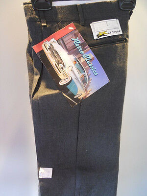 Nos Vintage LE TiGRE' 1980s Charcoal Gray Retro Trousers Pants Boys Miami Vice