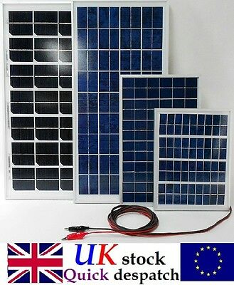 12v 5w 10w 15w 20w 25w 40w Solar Panel Charger /w 4m cable Diode & Battery Clips