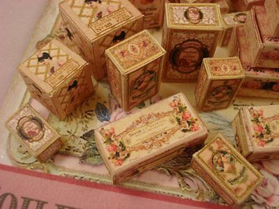 Miniature1:12 Scale Kit of 40 French Style Toiletry Boxes Victorian Pinks KIT-16