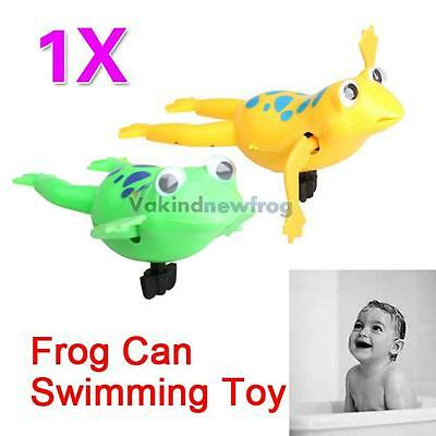 V1 New Wind-Up Swimming Frog Pool Bath Toy Cute Swim Frogs Battery Operated Toy