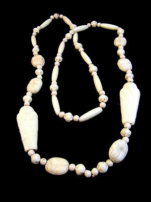 Art Deco King Tut Era White Glass Egyptian Mummy Beads Necklace