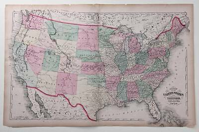 1872 Usa, United States America, Large Antique Map, Hand Colour