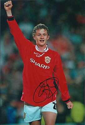Ole Gunnar SOLSKJAER Signed Autograph 12x8 Photo AFTAL COA Man Utd AUTHENTIC