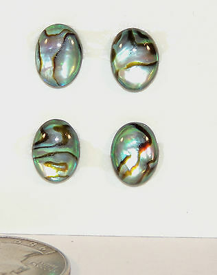 Abalone 10x8mm Oval Cabochon Set of 4 with 3.5mm dome (5446)