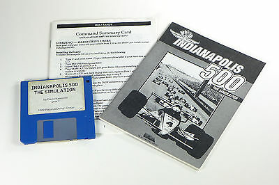 """Indianapolis 500: The Simulation (PC, 1989) 3.5"""" MS DOS Indy Car Racing Game"""