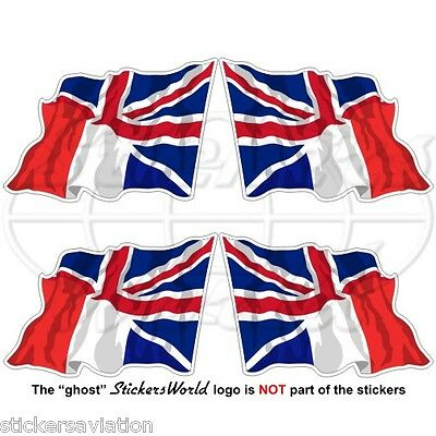 FRANCE-United Kingdom Flying Flag, French-UK British Union Jack 50mm Stickers x4