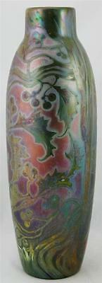 """WELLER SICARD GORGEOUS 14"""" VASE W/HOLLY LEAVES & BERRIES IN IRIDIZED GLAZES MINT"""