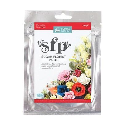 SQUIRES 100g EDIBLE SUGAR FLORIST / FLOWER / PETAL PASTE - POINSETTIA/XMAS RED