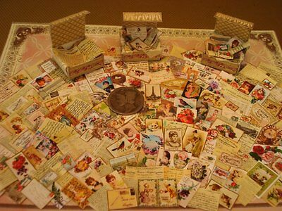 Miniature 1:12 FRENCH INSPIRED ANTIQUE CARDS,LETTERS w/FOLDERS & BOXES-KIT-25