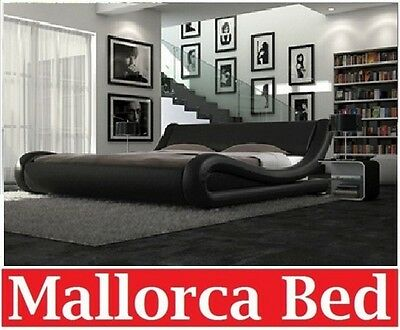 Italian Design Mallorca Queen King Size Black White Pu Leather Bed Frame