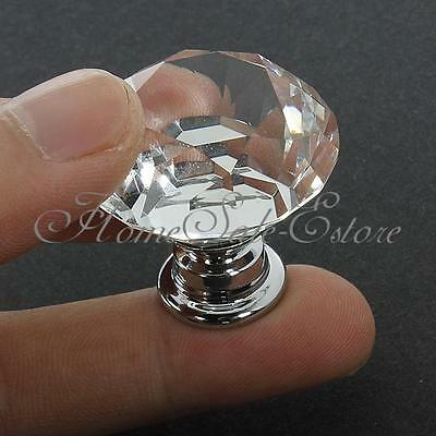 30mm Crystal Glass Cabinet Knob Diamond Shape Drawer Cupboard Handle Pull 10Pcs