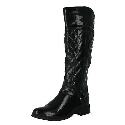 Spot On F5R0192 Ladies Black Patent  Zip Up Quilted Riding Style Boots (R36A)