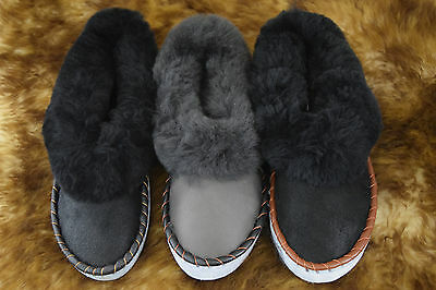 Size 6 - 12 Mens Womens Unisex Real Leather Sheepskin Wool Slipper Moccasins