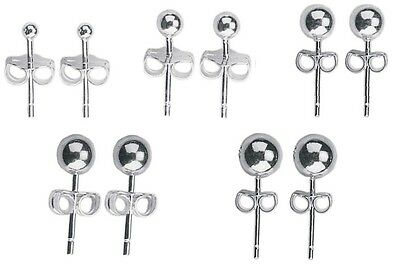 Pair of Plain SURGICAL STEEL Ball Stud Earrings - 2mm 3mm 4mm 5mm 6mm or Sets