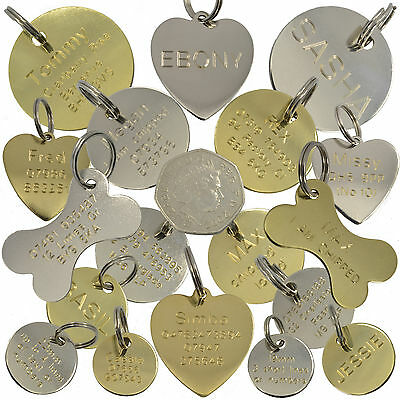 Dog Tag Cat Pet ID Disc Engraved Tags Brass Silver Heart Bone Round 9 Sizes