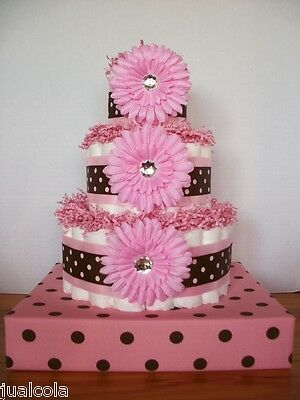 PINK BROWN DOTS BIG DIAPER CAKE WITH STAND GIRL BABY SHOWER CENTERPIECE GIFT