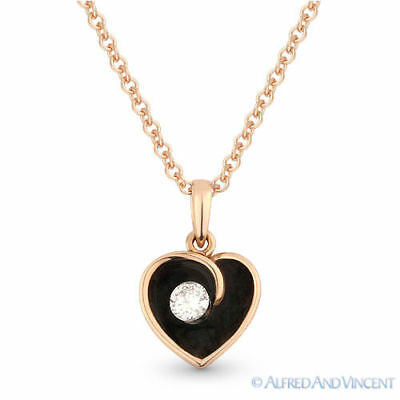 0.06 ct Round Cut Diamond & Enamel Heart Charm Necklace Pendant in 14k Rose Gold