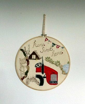 Home Sweet Home/Red/Tractor/Embroidery/Hoop/Fergie/Irish/Ireland/New