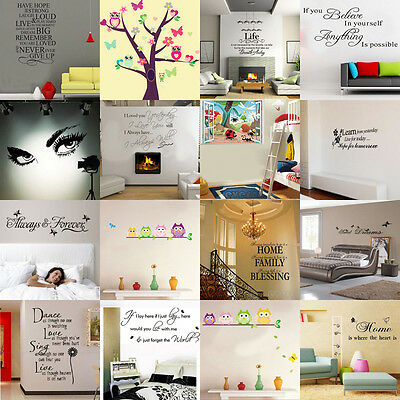 Wholesale Art Vinyl Quotes Owls Removable Wall Stickers Decals Home Decor Kids