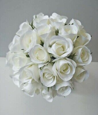 Silk Artificial White Rose Bud Roses Bunch Wedding Bouquet Bouquets Fake Flowers
