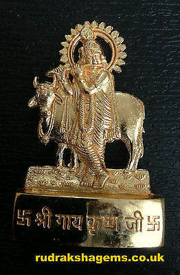 Lord Krishna Kanhiya Kanha Gopal Golden Metal Mini Statue Hindu God Idol