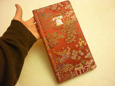 Vintage Red Phone Book Notebook - Oriental Scenic Machine Micro Stitched Fabric