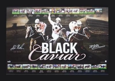 Black Caviar Career 25 Wins Peter Moody and Luke Nolen Signed Print Framed