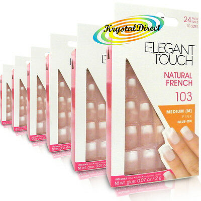 6x Elegant Touch French Manicure 103 Medium Pink Glue On False Artificial Nails