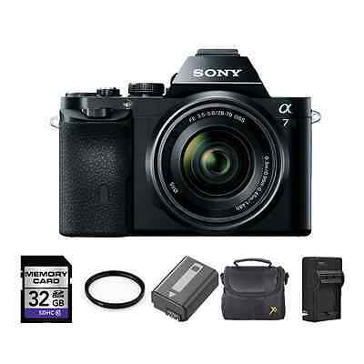 Sony A7 Mirrorless Digital Camera w/28-70mm Lens + 2 Batteries, 32GB & More