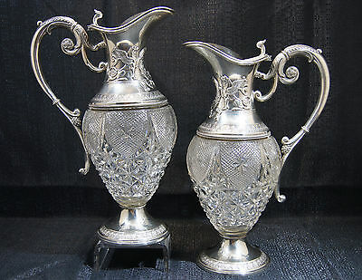 Antique German silver-mounted cut-glass ewers by Bruckmann & Sohne, Heilbronn