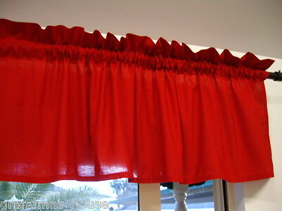 Window Curtain Valance Red - 100% Cotton