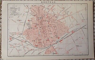 1895 Antique Map of Krefeld City Germany Plate from Brockhaus Encyclopedia