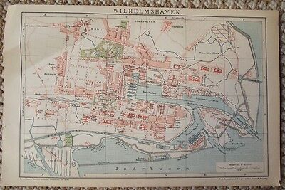 1895 Antique Map of Wilhelmshaven Germany Plate from Brockhaus Encyclopedia