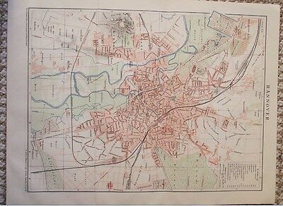 1895 Antique Map of Hannover Germany Plate from Brockhaus Encyclopedia