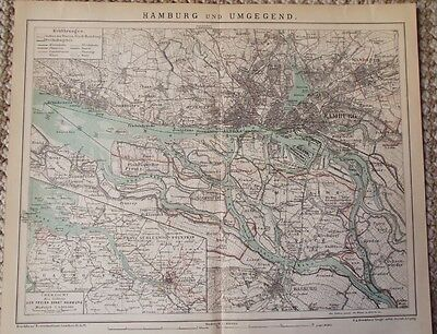1895 Antique Map of Hamburg Harburg Germany Plate from Brockhaus Encyclopedia