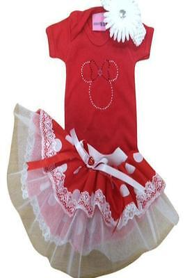 White Red Sparkle Baby Grow Neon Tutu Skirt Minnie Mouse Girl 80s Fancy Dress
