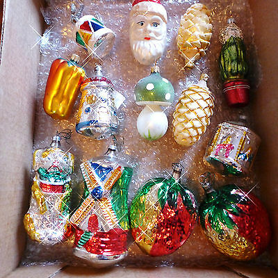 LOT13 BIG Vtg Blown Glass Figural Xmas Ornaments Czech Poland German SANTA