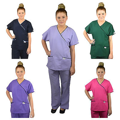 ScrubShine Medical Mock Microfibre Scrubs Set Nurse Dental- Choose Size & Colour