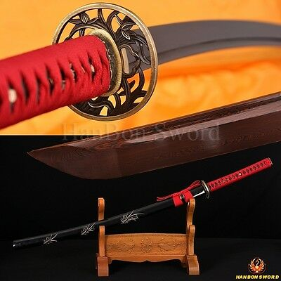 HAND-CARVED SAYA BLACK&RED FOLDED STEEL FULL TANG BLADE JAPANESE SWORD KATANA