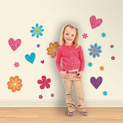 Snap Flirty Flowers Wall Decals ~ 19 Cute Removable Peel & Place Stickers ~ NIP