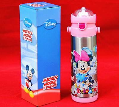 Disney Minnie Mouse Kids Stainless Steel Drink Water Bottle W Straw 350ml GIFT
