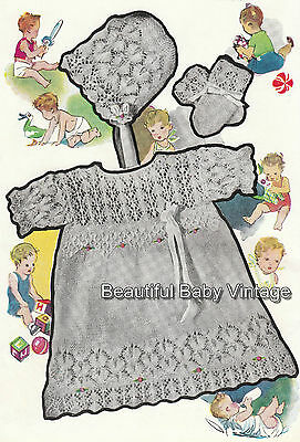 Vintage Baby Dress Coat Bonnet Bootee KNITTING PATTERN Christening 2-3 Ply COPY