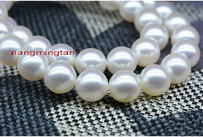 """Top LUSTER 35""""11-12mm real SOUTH sea perfect round white pearl necklace 14K"""